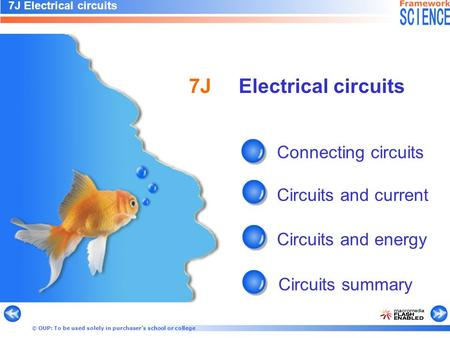 © OUP: To be used solely in purchaser's school or college Connecting circuits Circuits and current Circuits and energy Circuits summary 7J Electrical circuits.