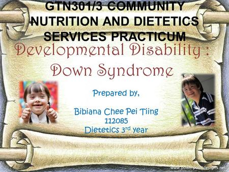 GTN301/3 COMMUNITY NUTRITION AND DIETETICS SERVICES PRACTICUM Developmental Disability : Down Syndrome Prepared by, Bibiana Chee Pei Tiing 112085 Dietetics.