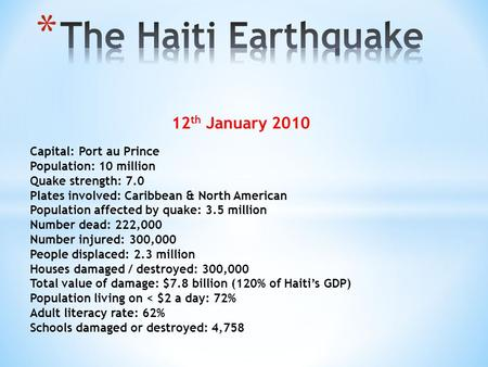 12 th January 2010 Capital:Port au Prince Population: 10 million Quake strength: 7.0 Plates involved: Caribbean & North American Population affected by.