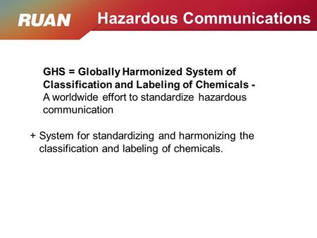 GHS = Globally Harmonized System of Classification and Labeling of Chemicals - A worldwide effort to standardize hazardous communication + System for standardizing.
