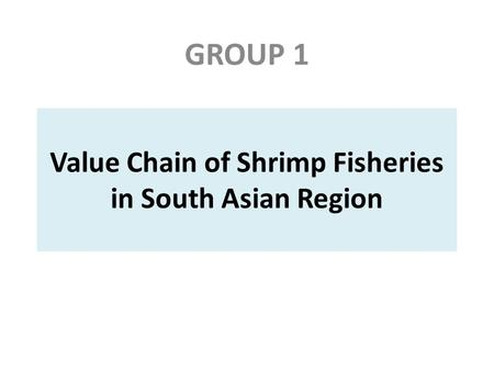 Value Chain of Shrimp Fisheries in South Asian Region GROUP 1.