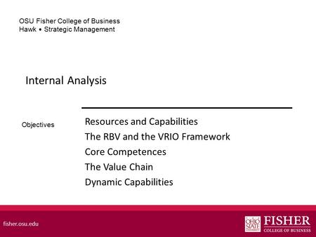 Internal Analysis Resources and Capabilities
