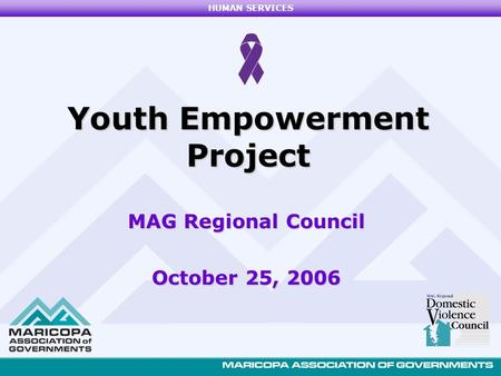 HUMAN SERVICES MAG Regional Council October 25, 2006 Youth Empowerment Project.