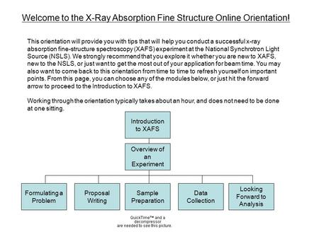 Welcome to the X-Ray Absorption Fine Structure Online Orientation! This orientation will provide you with tips that will help you conduct a successful.