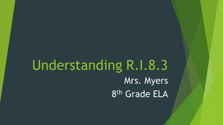 Understanding R.I.8.3 Mrs. Myers 8 th Grade ELA. Standard R.I 8.3  Analyze how a text makes connections among and distinctions between individuals, ideas,