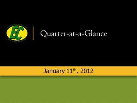 Quarter-at-a-Glance January 11 th, 2012. Alex Bielawiec President.