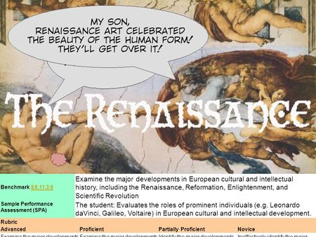  Benchmark SS.11.3.6SS.11.3.6 Examine the major developments in European cultural and intellectual history, including the Renaissance, Reformation, Enlightenment,