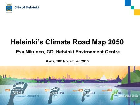 30.11.2015Esa Nikunen Helsinki's Climate Road Map 2050 Esa Nikunen, GD, Helsinki Environment Centre Paris, 30 th November 2015 1.