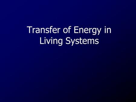 Transfer of Energy in Living Systems. Autotrophs A group of organisms that can use the energy in sunlight to convert water and carbon dioxide into Glucose.