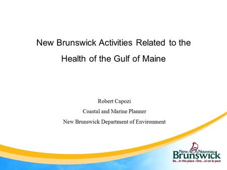 New Brunswick Activities Related to the Health of the Gulf of Maine Robert Capozi Coastal and Marine Planner New Brunswick Department of Environment.