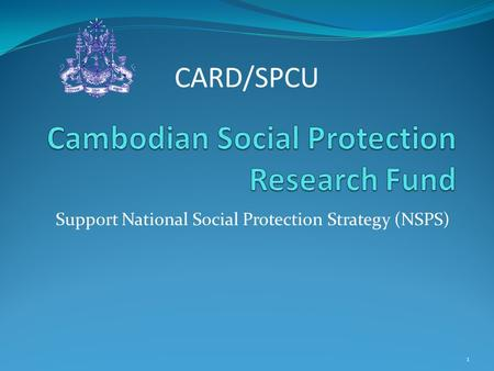 Support National Social Protection Strategy (NSPS) CARD/SPCU 1.