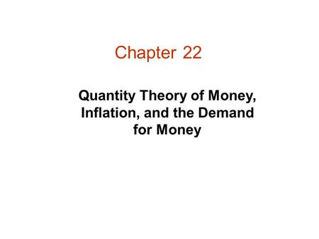 Chapter 22 Quantity Theory of Money, Inflation, and the Demand for Money.