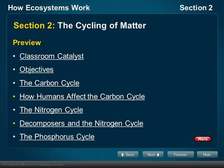 How Ecosystems WorkSection 2 Section 2: The Cycling of Matter Preview Classroom Catalyst Objectives The Carbon Cycle How Humans Affect the Carbon Cycle.