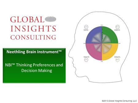 ©2013 Global Insights Consulting, LLC Neethling Brain Instrument™ NBI™ Thinking Preferences and Decision Making Neethling Brain Instrument™ NBI™ Thinking.
