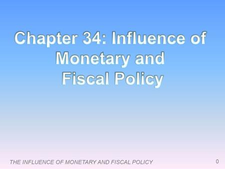 THE INFLUENCE OF MONETARY AND FISCAL POLICY 0. 1 Introduction  This chapter focuses on the short-run effects of fiscal and monetary policy, which work.