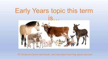 Early Years topic this term is… All Creatures Great and Small…we have been learning about animals.