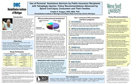 Use of Personal Assistance Services by Public Insurance Recipients with Tetraplegic Injuries: Policy Recommendations Advanced by Spinal Cord Injury Consumers.