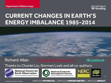 LIMITLESS POTENTIAL | LIMITLESS OPPORTUNITIES | LIMITLESS IMPACT Copyright University of Reading CURRENT CHANGES IN EARTH'S ENERGY IMBALANCE 1985-2014.