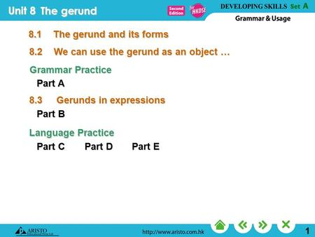 Unit 8 1 The gerund 8.2We can use the gerund as an object … 8.1The gerund and its forms Part A Grammar Practice Part B Part C Language Practice Part D.