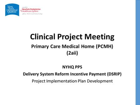 Clinical Project Meeting NYHQ PPS Delivery System Reform Incentive Payment (DSRIP) Project Implementation Plan Development Primary Care Medical Home (PCMH)