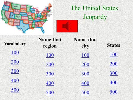 The United States Jeopardy Vocabulary 100 200 300 400 500 Name that region 100 200 300 400 500 Name that city 100 200 300 400 500 States 100 200 300 400.