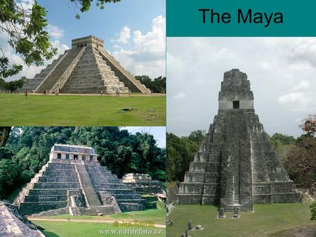The Maya. Development of Mayan Civilization Reached it's height between 300 and 900 CE Mesoamerica: southern Mexico, Belize, most of Guatemala, parts.