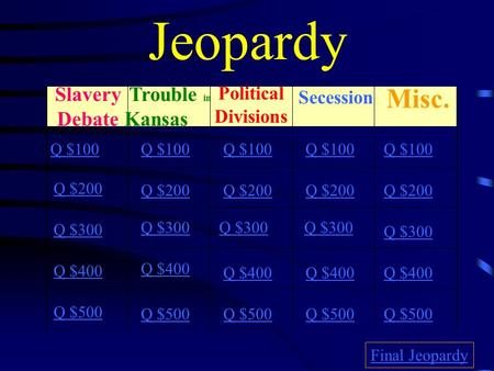 Jeopardy Slavery Debate Trouble in Kansas Political Divisions Secession Misc. Q $100 Q $200 Q $300 Q $400 Q $500 Q $100 Q $200 Q $300 Q $400 Q $500 Final.