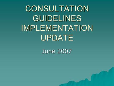 CONSULTATION GUIDELINES IMPLEMENTATION UPDATE June 2007.