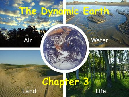 The Dynamic Earth Chapter 3. The Dynamic Earth An integrated system containing four interacting parts: The Geosphere (rock) The Atmosphere (air) The Hydrosphere.