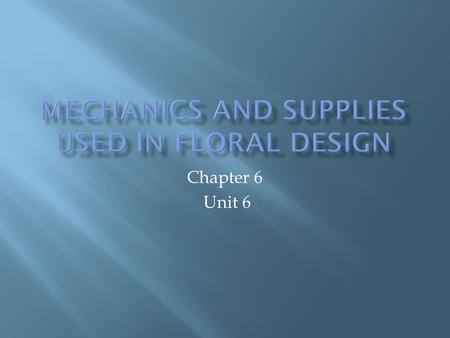 Chapter 6 Unit 6. 1. What are the various containers used for floral arrangements? 2. What are basic mechanics and supplies used in floral design?