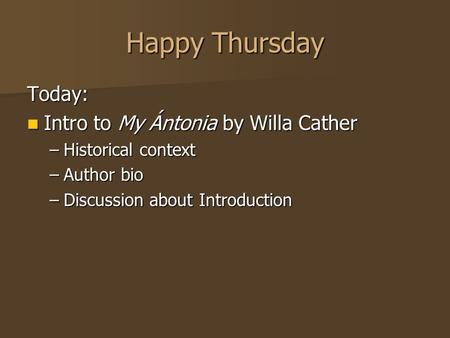 willa cather Essay Examples