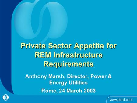 Private Sector Appetite for REM Infrastructure Requirements Anthony Marsh, Director, Power & Energy Utilities Rome, 24 March 2003.