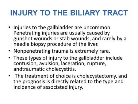 INJURY TO THE BILIARY TRACT