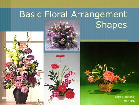 Basic Floral Arrangement Shapes Robbie Buchanan May 2007.