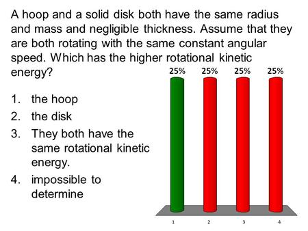A hoop and a solid disk both have the same radius and mass and negligible thickness. Assume that they are both rotating with the same constant angular.