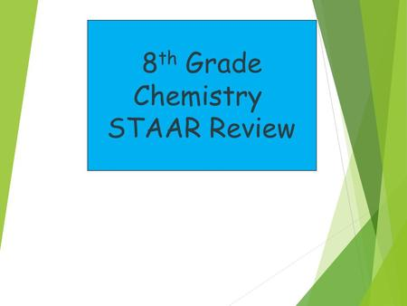 8 th Grade Chemistry STAAR Review 500 400 300 200 100 Everything Chemistry Symbols, Formulas, Equations Physical vs Chemical Changes Periodic Table Subatomic.