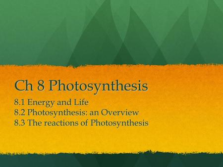 Ch 8 Photosynthesis 8.1 Energy and Life 8.2 Photosynthesis: an Overview 8.3 The reactions of Photosynthesis.