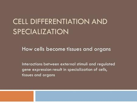 1 explain how cells specialize to