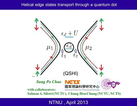 NTNU, April 2013 with collaborators: Salman A. Silotri (NCTU), Chung-Hou Chung (NCTU, NCTS) Sung Po Chao Helical edge states transport through a quantum.