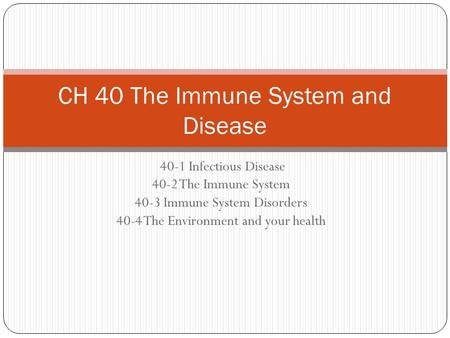 40-1 Infectious Disease 40-2 The Immune System 40-3 Immune System Disorders 40-4 The Environment and your health CH 40 The Immune System and Disease.