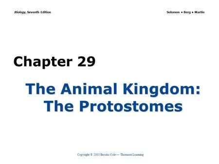 Copyright © 2005 Brooks/Cole — Thomson Learning Biology, Seventh Edition Solomon Berg Martin Chapter 29 The Animal Kingdom: The Protostomes.