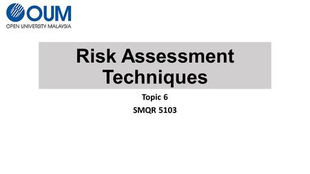 Risk Assessment Techniques Topic 6 SMQR 5103. Risk Assessment Techniques – ISO 31010 31 Techniques FMEA HAZOP Root-cause analysis Cause and effect analysis.