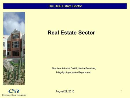 1 The Real Estate Sector Real Estate Sector Sherilina Schmidt CAMS, Senior Examiner, Integrity Supervision Department August 29, 2013.