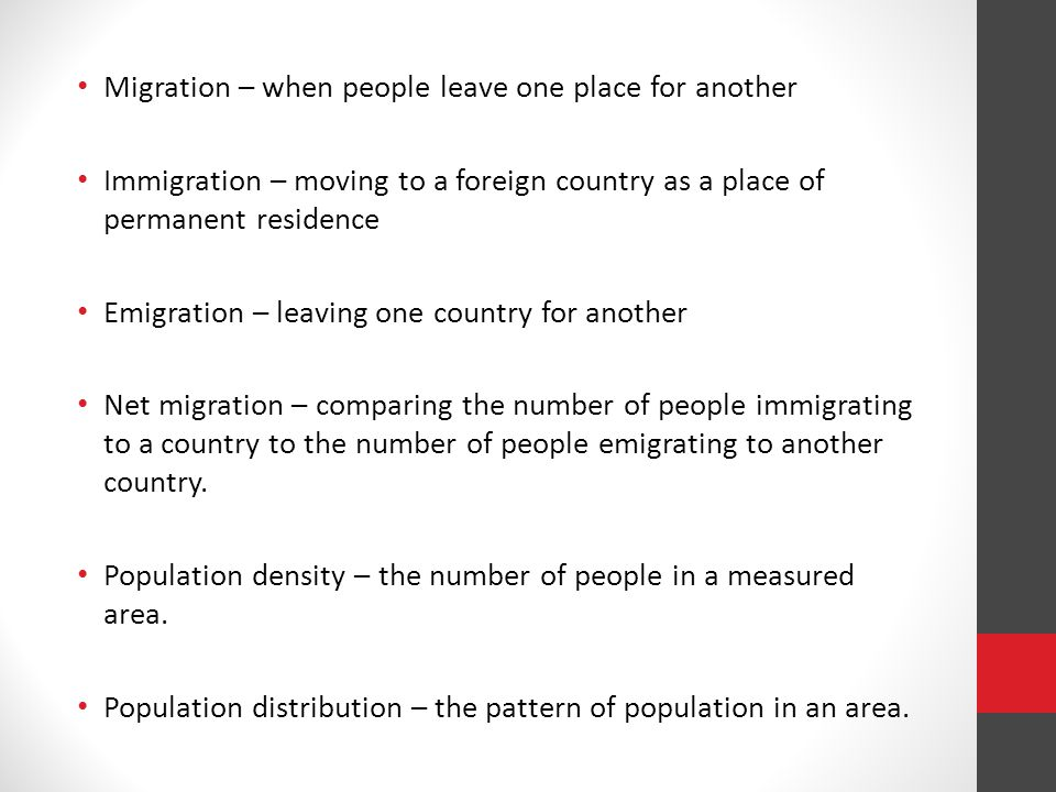 Review: What is the difference between Immigration and Emigration.