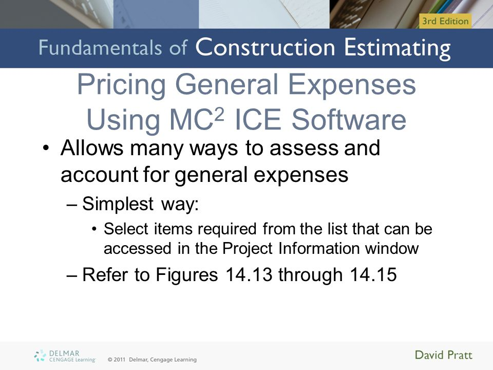 Summary Indirect costs of construction projects: –General expenses or project overheads –Usually general contractor's responsibility to assess and price Calculated as percentage or function of duration Can be done manually or via computer