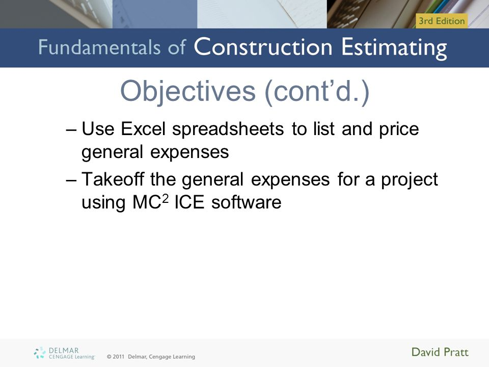 Introduction Direct costs measured in takeoff –Labor, material, and equipment General expenses –All of additional, indirect costs General Requirements of the Project or Project Overheads General Expense sheet