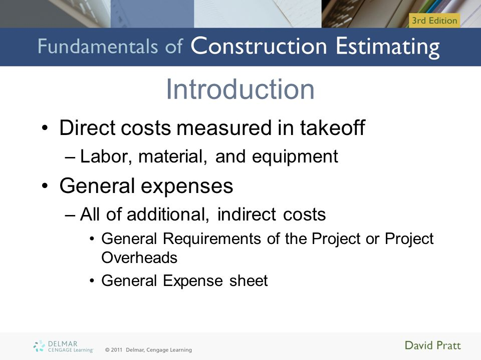 Figure 14.2 Selection of General Expense Add-Ons (Delmar/Cengage Learning)
