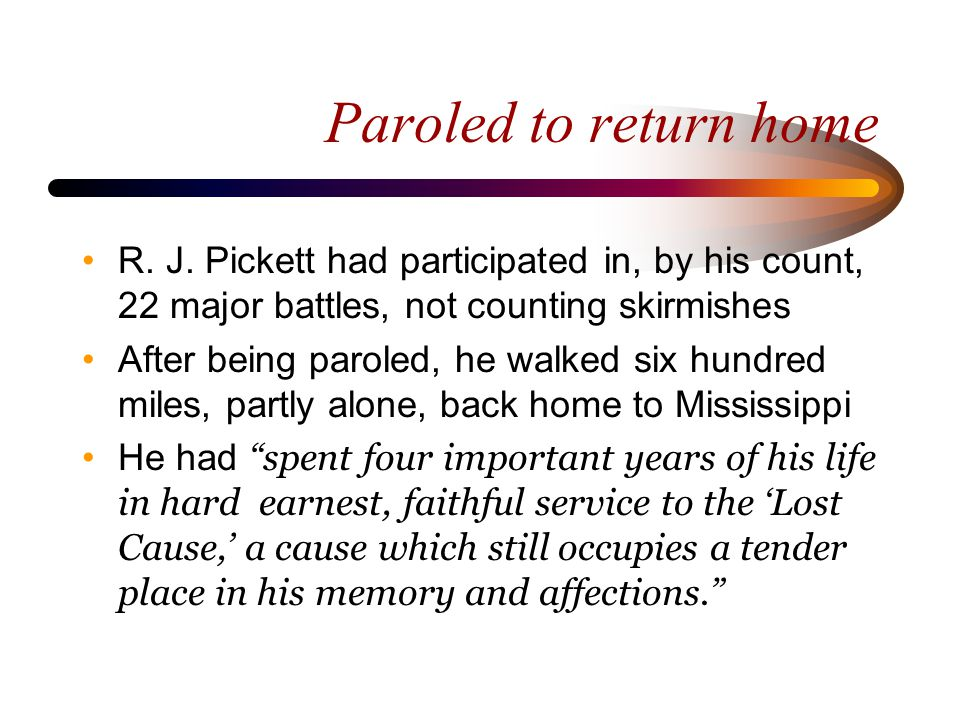 Reconstruction Mr.Pickett moved to Hopkins County, Texas Jan.