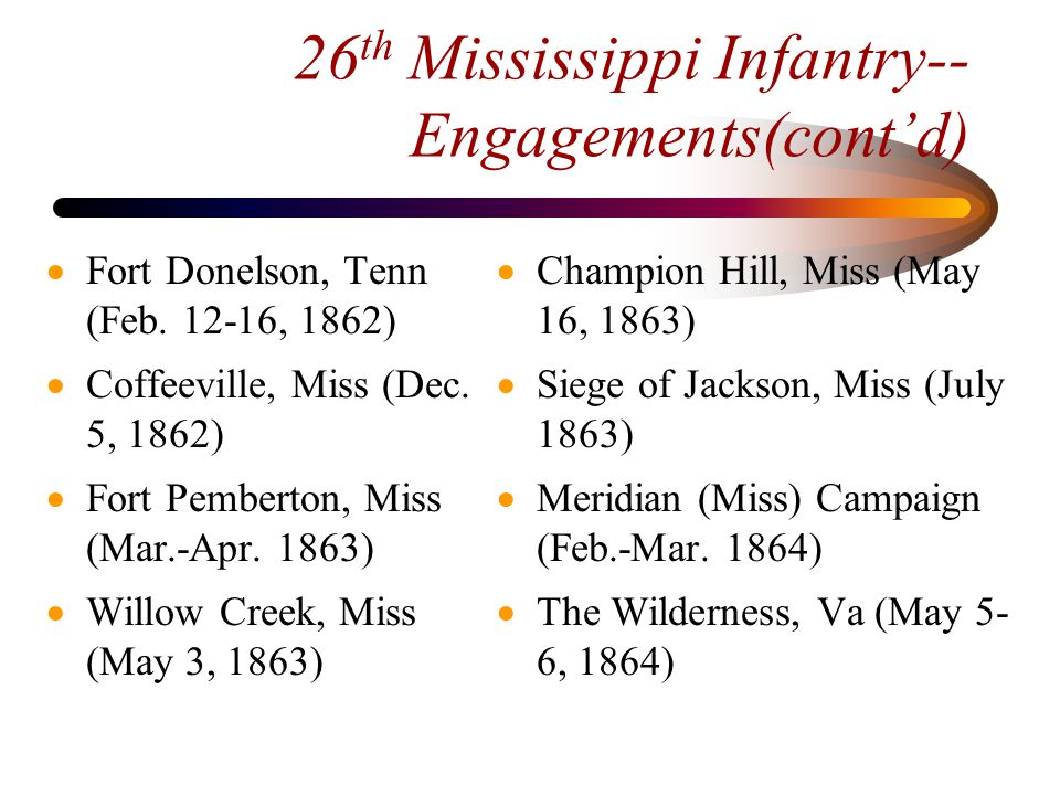 26 th Mississippi Infantry-- Engagements(cont'd)  Spotsylvania, Va.
