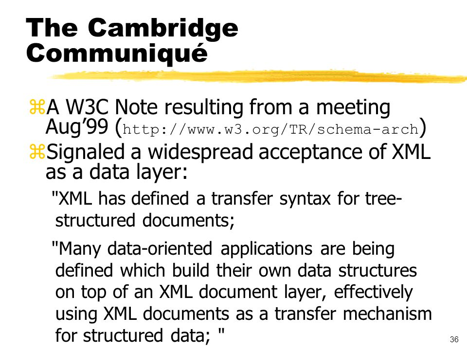 37 The Communiqué, cont d zCalled for support in XML Schema for specifying mapping between the XML document data model (or XML Infoset) and application-specific data models zXML Schema is a W3C recommendation- in-progress for defining the structure of document families zA grammar for markup structure artice -> title, subtitle?, section+ or POORDERHDR -> DATETIME, ORDERAMT